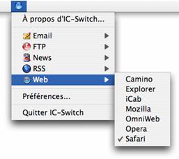 Copie d'écran du menu IC-Switch
