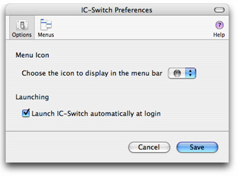 Screenshot of IC-Switch's options pane