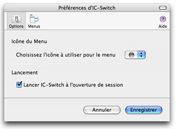 Copie d'écran du panneau d'options d'IC-Switch