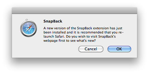 SnapBack Update Dialog