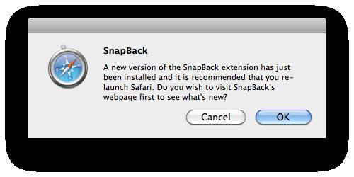 SnapBack Update Dialog